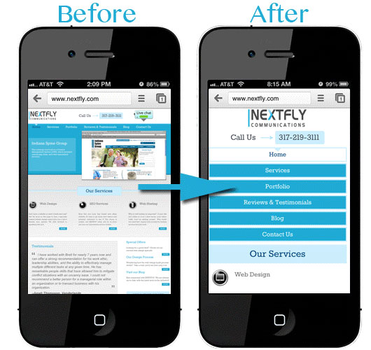 Mobile Web Design Before and After