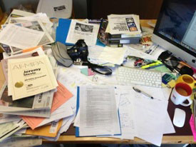 image of a messy desk
